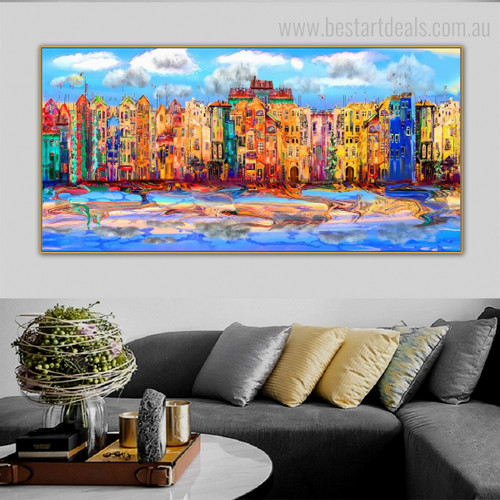 Flashy Buildings Abstract Watercolor Modern Framed Painting Shot Canvas Print for Room Wall Decoration