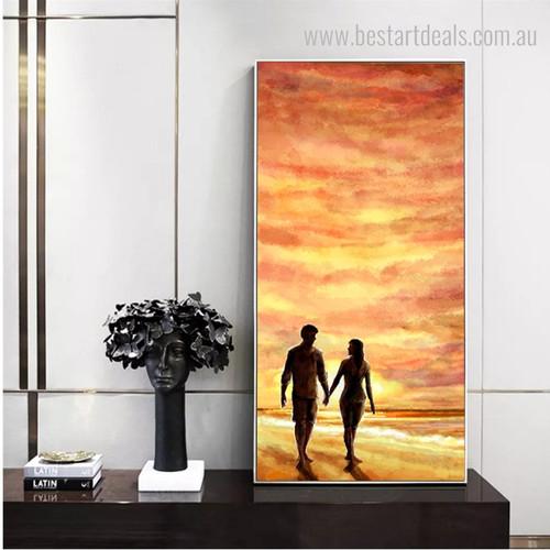 Lover Walk Landscape Nature Modern Framed Effigy Picture Canvas Print for Room Wall Embellishment