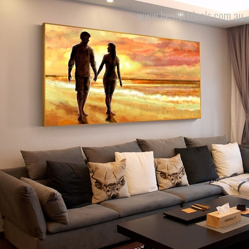 Couple Walking Landscape Nature Modern Framed Smudge Portrait Canvas Print for Room Wall Embellishment