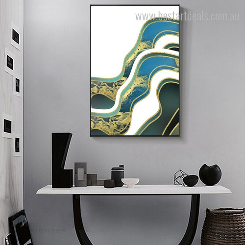 Liquid Texture Abstract Contemporary Framed Vignette Shot Canvas Print for Room Wall Ornament