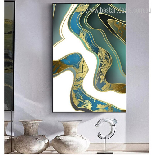 Gilt Lines Abstract Contemporary Framed Smudge Photo Canvas Print for Room Wall Drape
