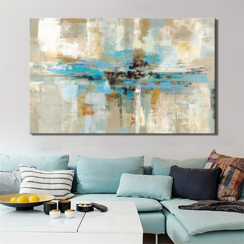 White & Blue Abstract Oil Painting Print for Home Wall Decoration