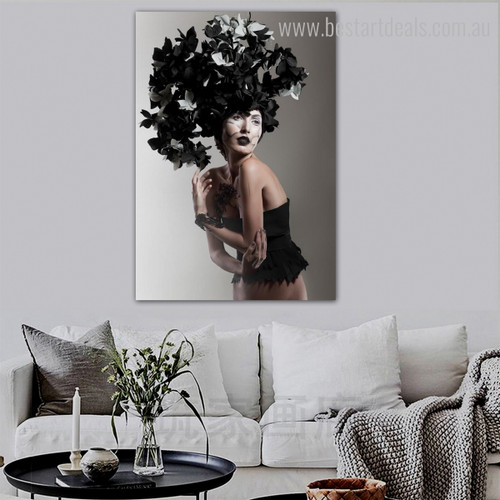 Black Floral Hat Abstract Figure Framed Effigy Image Canvas Print for Room Wall Embellishment