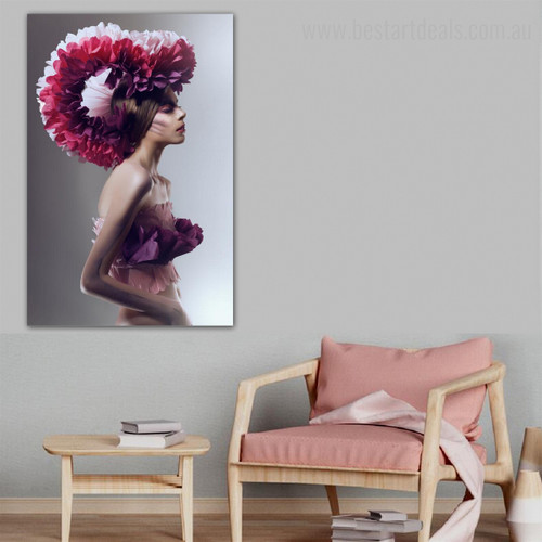 Flowery Hat Abstract Figure Framed Painting Picture Canvas Print for Room Wall Ornament