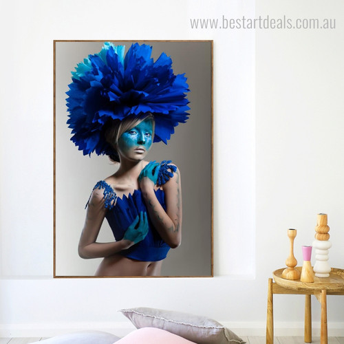 Blue Flowered Cap Abstract Figure Framed Portraiture Portrait Canvas Print for Room Wall Embellishment