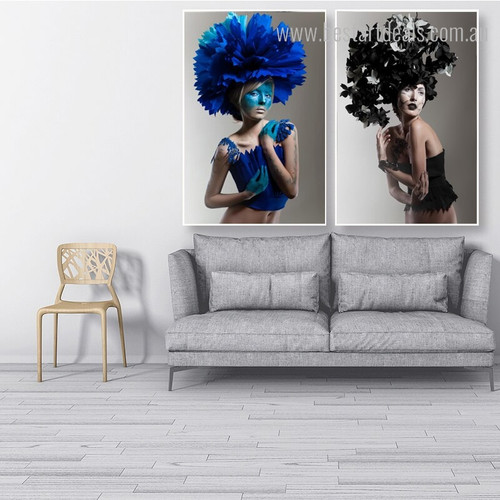 Dark Botanical Hat Abstract Figure Framed Painting Photo Canvas Print for Wall Drape