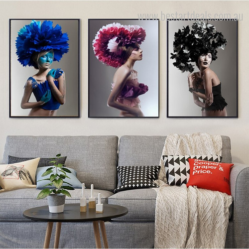 Florist Hat Abstract Figure Framed Effigy Image Canvas Print for Room Wall Outfit
