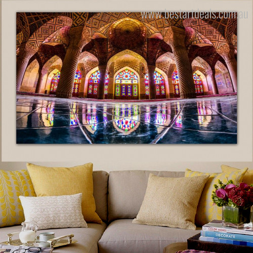 Nasir Al Mulk Mosque Islamic Religious Contemporary Framed Portmanteau Picture Canvas Print for Room Wall Hanging Decor