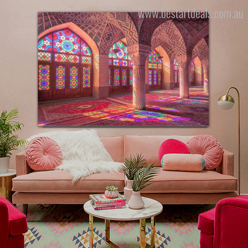 Pink Mosque Islamic Religious Contemporary Framed Effigy Image Print for Room Wall Outfit