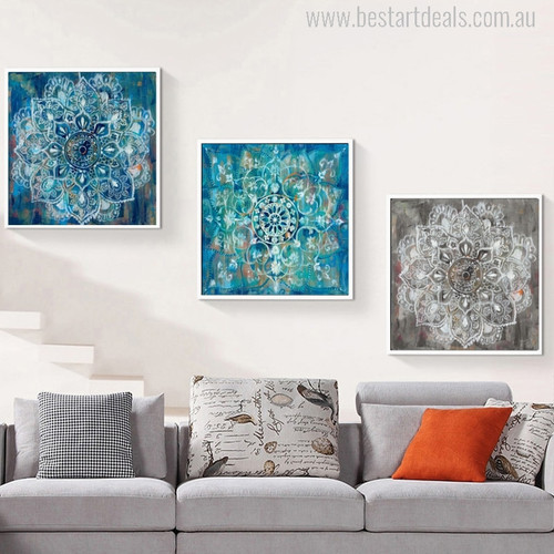 Abstract Classic Brick Draw with Mandala Flower Picture Print for Room Wall Art