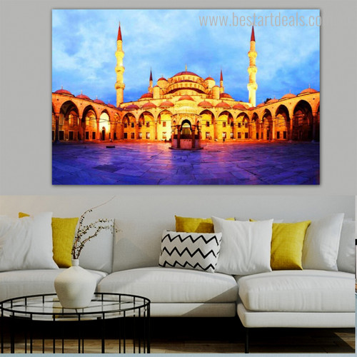 Sultan Ahmed Masjid Islamic Religion & Spirituality Contemporary Framed Painting Photo Canvas Print for Room Wall Getup