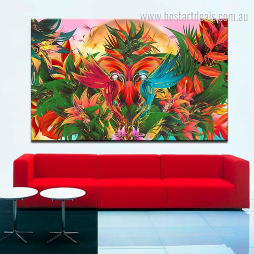 Flying Parrots Birds Floral Framed Painting Photo Canvas Print for Room Wall Assortment