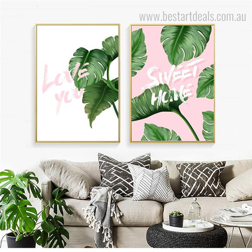 Sweet Love Quote Botanical Nordic Modern Framed Painting Photography Canvas Print for Room Wall Equipment