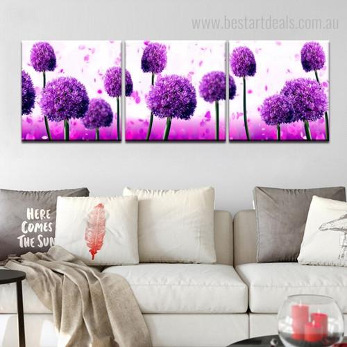 Purple Ficus Botanical Modern Framed Artwork Photo Canvas Print for Wall Garniture