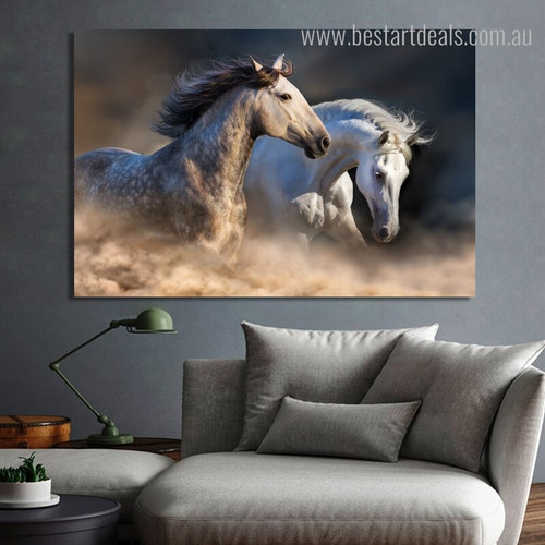 Two Equines Animal Contemporary Framed Effigy Picture Canvas Print for Wall Getup