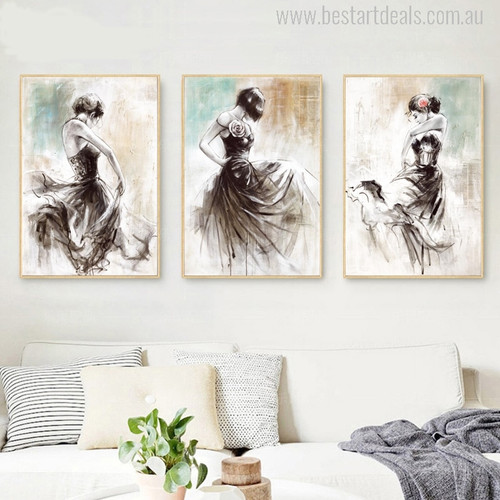 Abstract Dancing Girls Oil Painting Print for Bedroom Wall Decoration