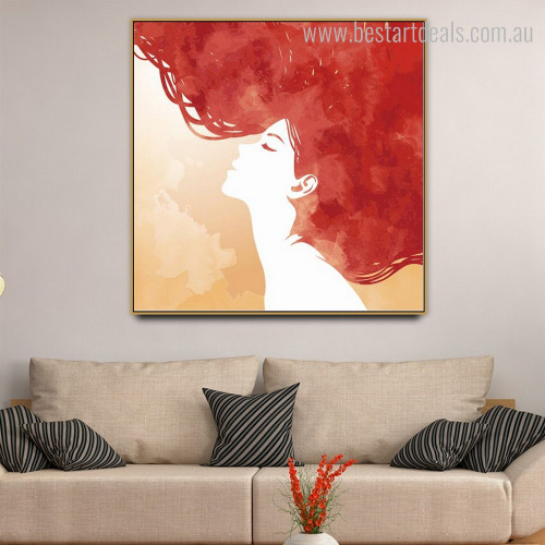 Women Hair Abstract Canvas Painting Picture Print for Room Wall Outfit
