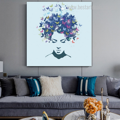 Lady Face Abstract Modern Framed Portmanteau Picture Canvas Print for Room Wall Getup