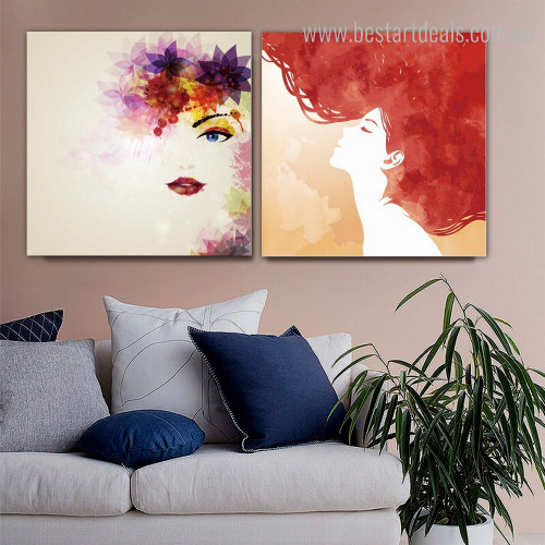 Woman Faces Abstract Modern Framed Painting Image Canvas Print for Room Wall Decoration
