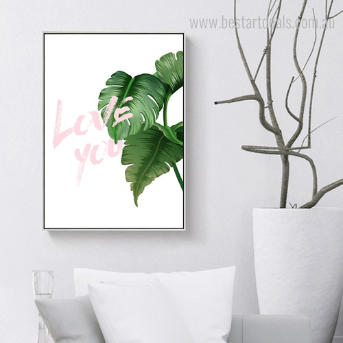 Split Leaf Philodendron Botanical Nordic Framed Painting Picture Canvas Print for Room Wall Decor