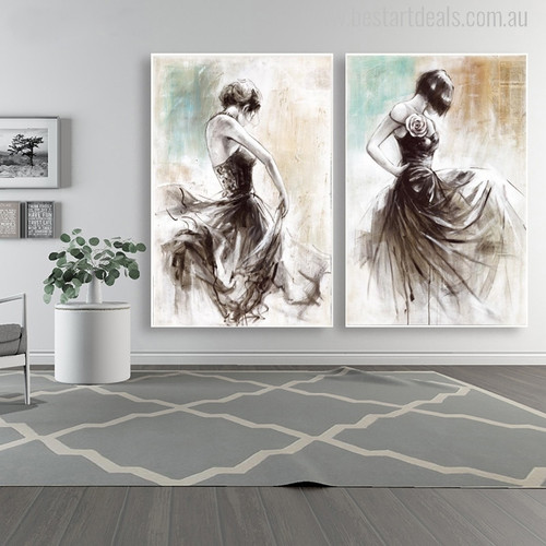 Abstract Dancer Girls Oil Painting Print for Room Wall Decoration