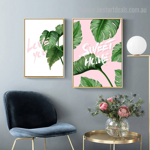 Love Home Quote Botanical Nordic Framed Painting Picture Canvas Print for Room Wall Decor