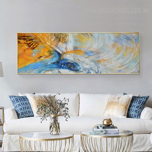 Yellow Blue Abstract Panoramic Modern Framed Artwork Photo Canvas Print for Room Wall Decoration