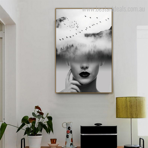 Monochrome Wood Abstract Figure Nature Bird Framed Painting Photo Canvas Print for Room Wall Finery
