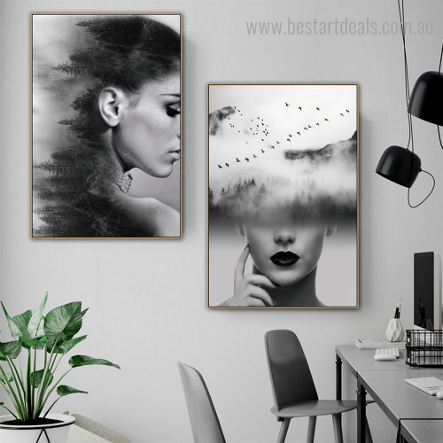 Female Mugs Abstract Figure Nature Framed Painting Picture Canvas Print for Room Wall Ornament