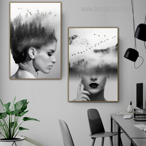 Distaff Face Abstract Figure Nature Framed Artwork Photo Canvas Print for Room Wall Outfit