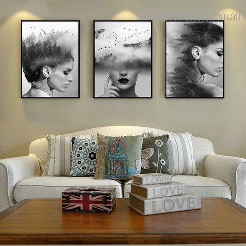 Dame Mouths Abstract Figure Nature Framed Artwork Photo Canvas Print for Living Room Wall Decoration