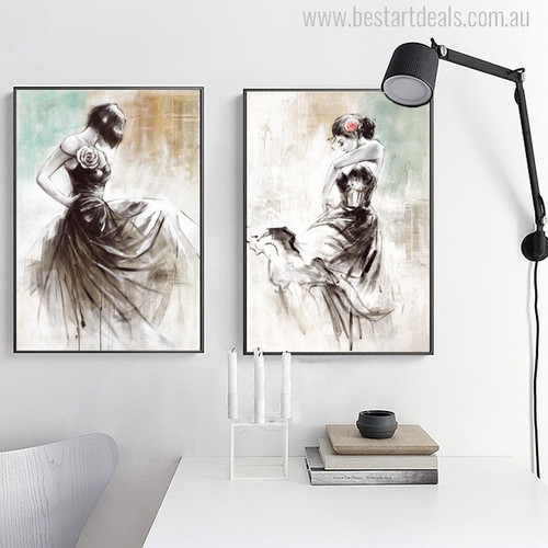 Abstract Dance of Girls Oil Painting Print for Room Wall Decoration