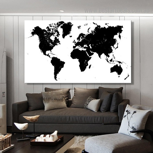 Dark Ink World Map Modern Framed Painting Portrait Canvas Print for Room Wall Ornament