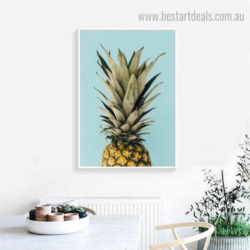 Half Pineapple Nordic Framed Painting Image Canvas Print for Dining Room Wall Outfit