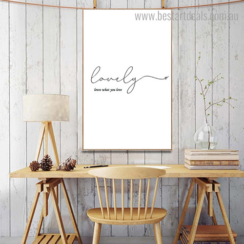 Lovely Quote Nordic Calligraphy Framed Portmanteau Portrait Canvas Print for Room Wall Finery