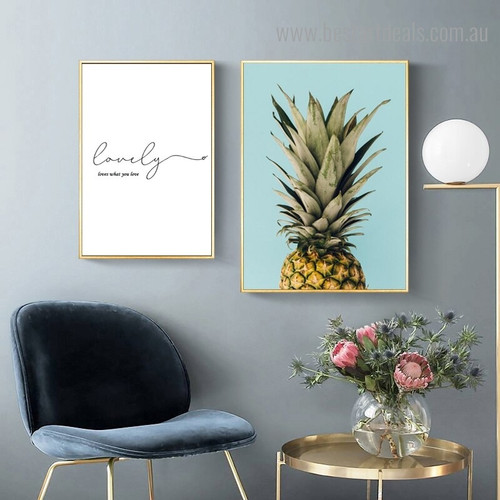 What Pineapple Quote Nordic Calligraphy Framed Artwork Image Canvas Print for Room Wall Drape