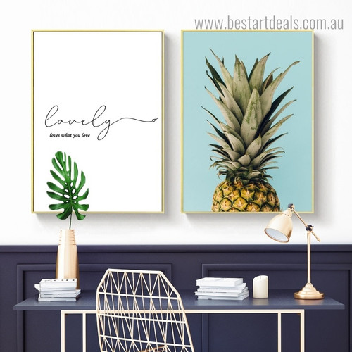 Love Ananas Quote Nordic Calligraphy Framed Artwork Photography Canvas Print for Room Wall Disposition