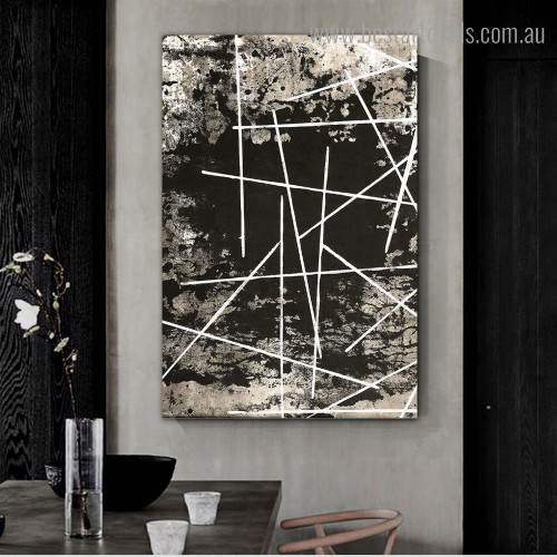Striations Abstract Modern Framed Painting Shot Canvas Print for Dining Room Wall Hanging Decor