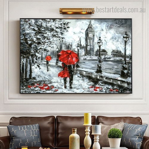 Clock Tower Lovers Abstract Landscape Modern Framed Painting Picture Canvas Print for Wall Outfit