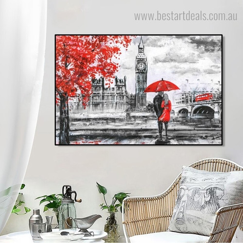Red Umbrella Couple Abstract Landscape Modern Framed Painting Photo Canvas Print for Wall Decor