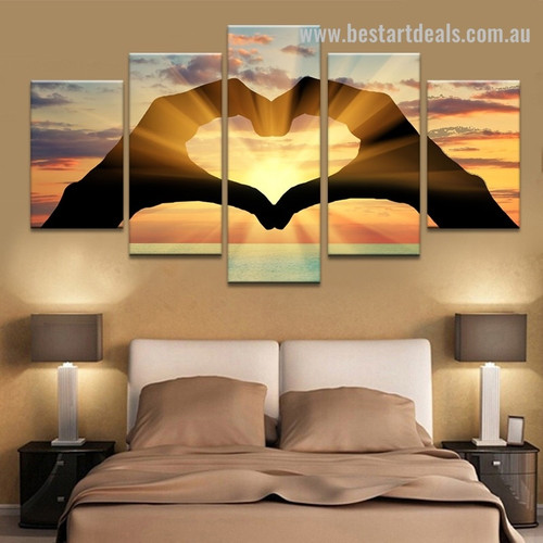 Gesture of Love Abstract Modern Framed Painting Picture Canvas Print for Room Wall Decor