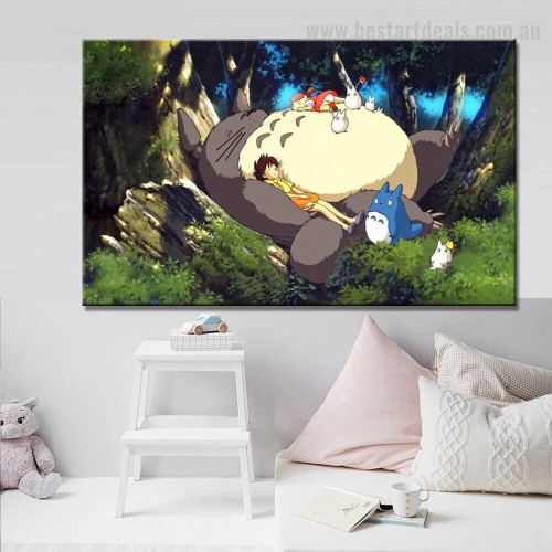 Neighbor Totoro Animated Kids Movie Framed Painting Photo Canvas Print for Room Wall Decoration