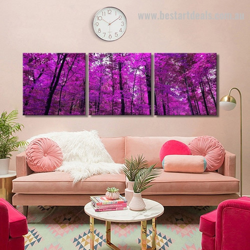 Purple Trees Botanical Landscape Framed Portraiture Photograph Canvas Print for Room Wall Disposition