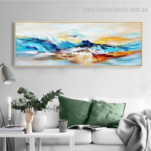 Dapple Mountain Abstract Landscape Panoramic Modern Framed Portmanteau Portrait Canvas Print for Living Room Wall Garnish