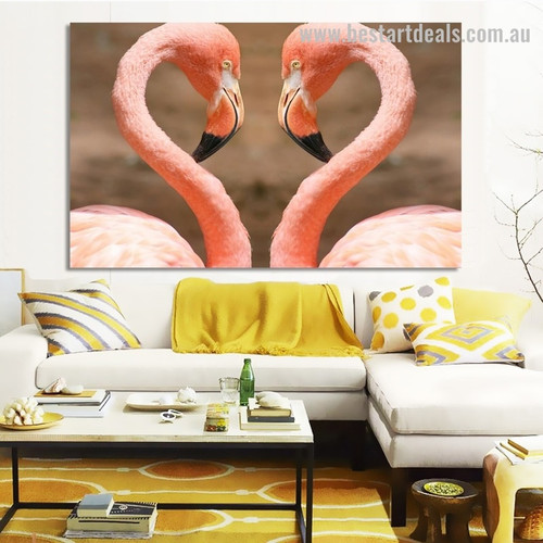 Two Flamingo Birds Modern Framed Portraiture Image Canvas Print for Room Wall Decoration