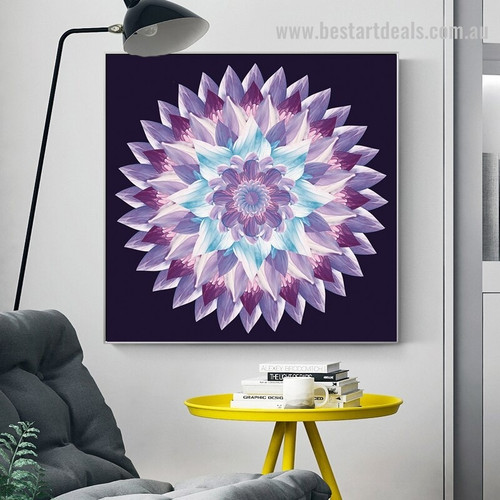 Gradient Mandala Abstract Modern Floral Framed Painting Photo Canvas Print for Wall Hanging Decor