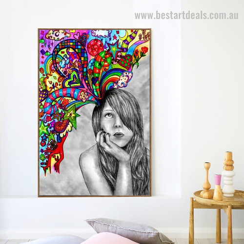 Whimsical Girl Abstract Graffiti Framed Painting Photo Canvas Print for Room Wall Outfit