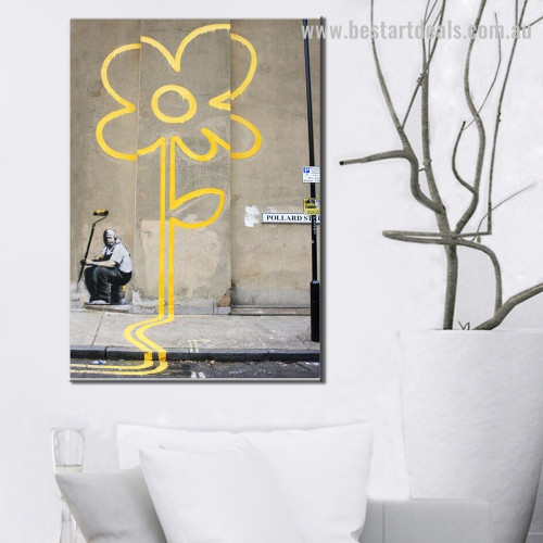 Yellow Bloom Abstract Graffiti Framed Artwork Photograph Canvas Print for Room Wall Drape