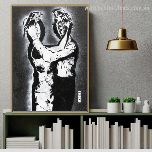 Two Human Abstract Graffiti Framed Artwork Pic Canvas Print for Room Wall Ornament