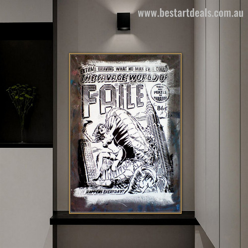 Faile Quote Abstract Graffiti Framed Portrayal Pic Canvas Print for Room Wall Getup